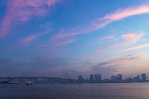 キレイな夕焼け空と広い海