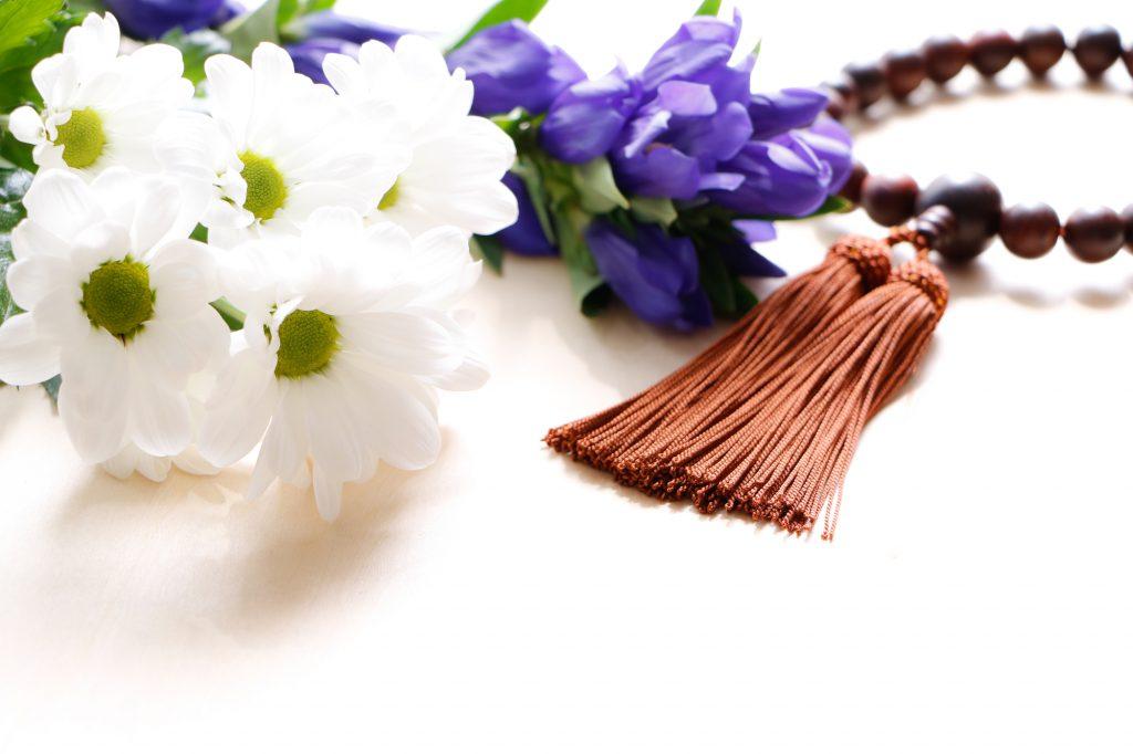 切り花と数珠