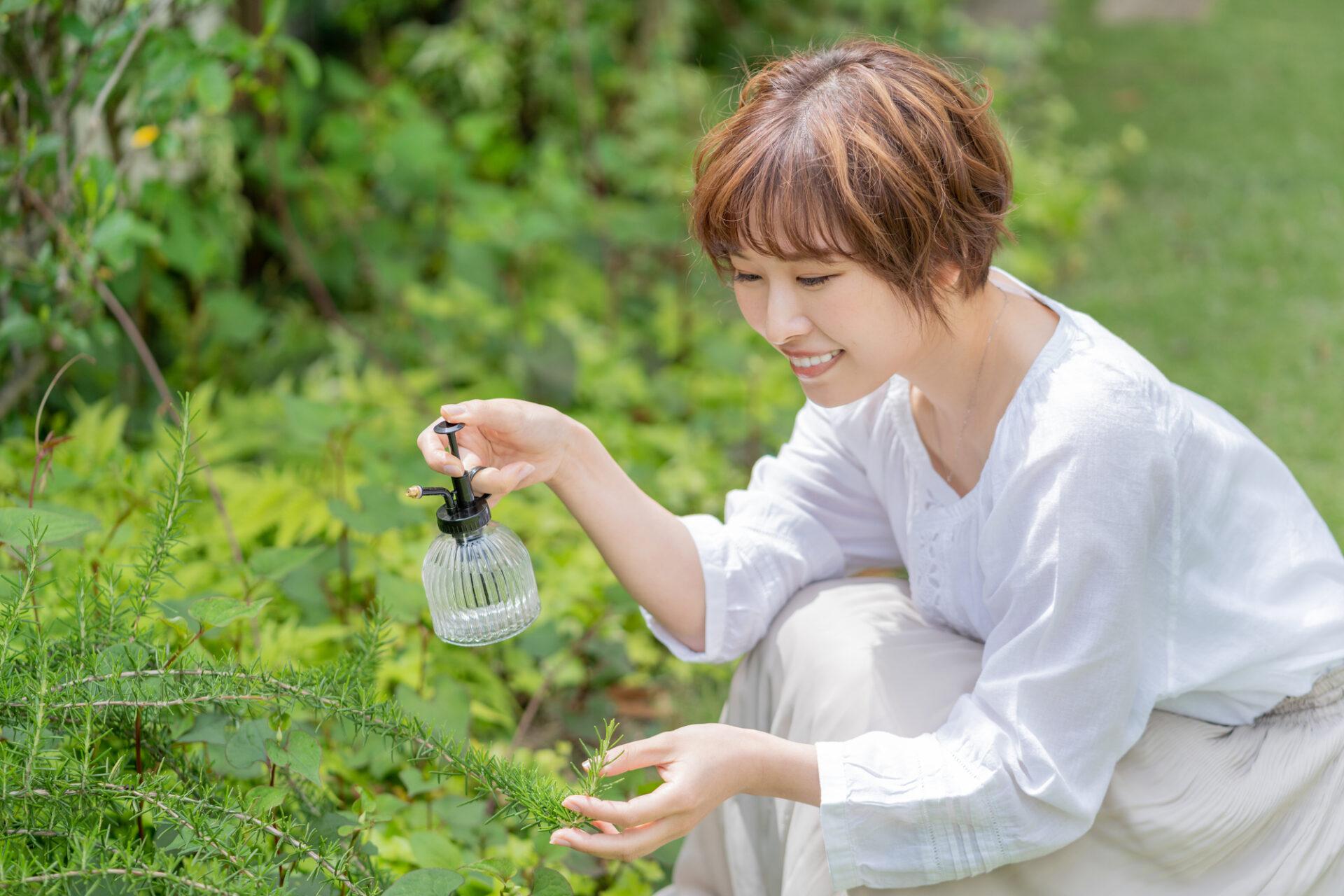 女性がお庭に水をあげているシーン