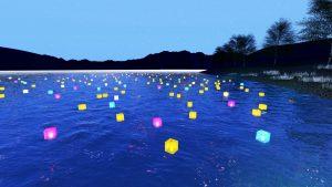 美しい海に浮かぶ灯篭