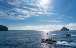 広い海と数隻の船