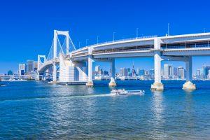 東京湾とレインボーブリッジ