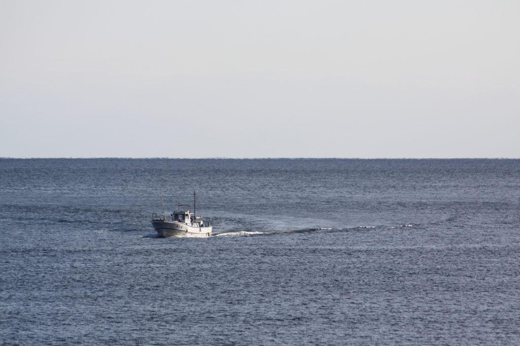 広い海を進むクルーザー
