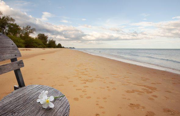 砂浜のベンチに花が置かれている