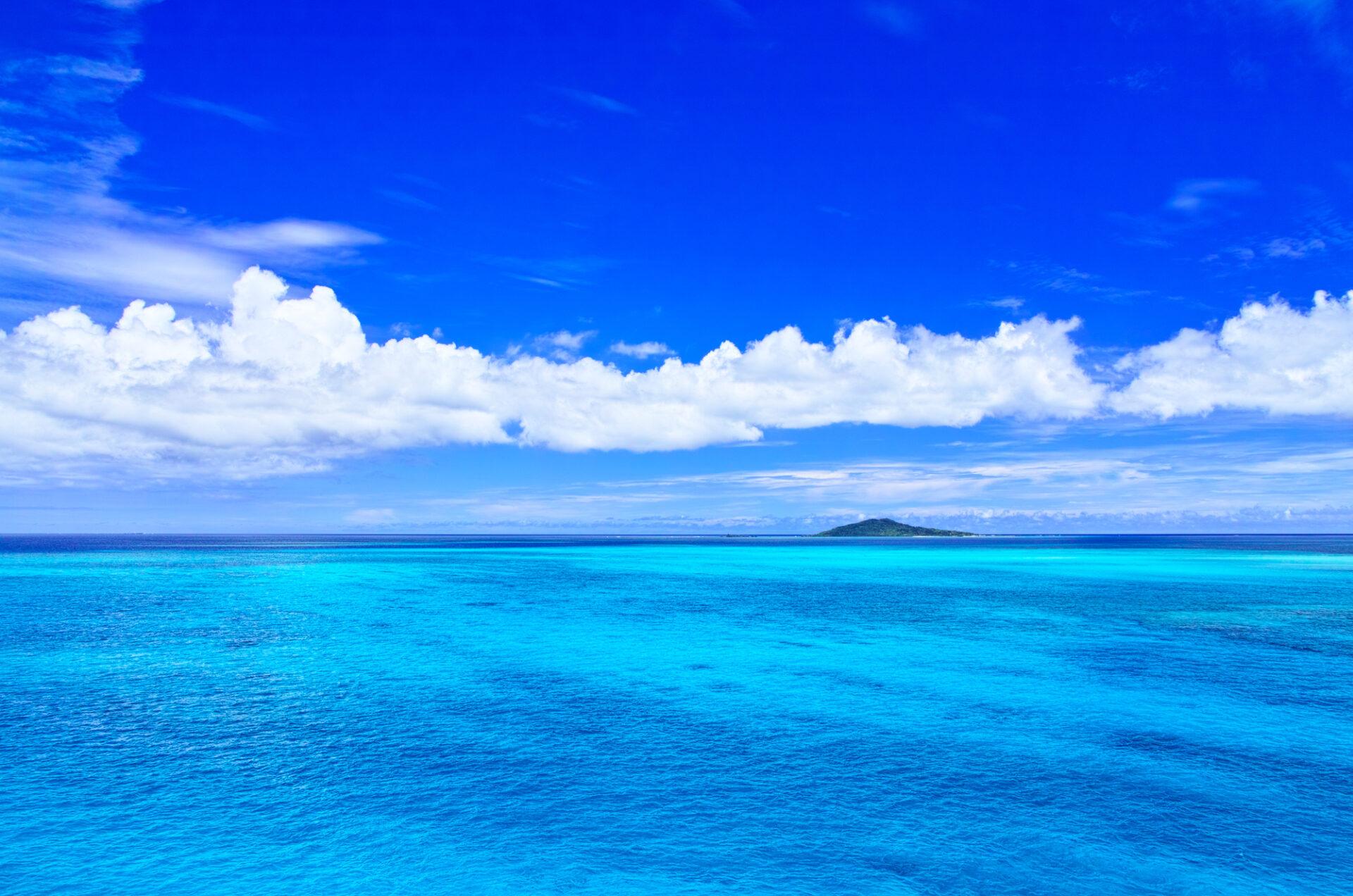 広大な海と晴天の青空