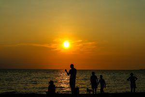 夕方の海辺で過ごす家族とペット