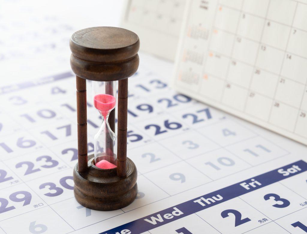 砂時計とカレンダー
