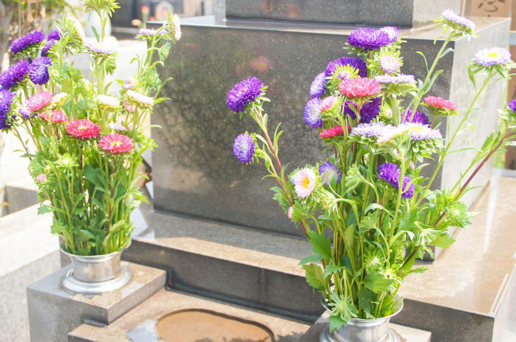 お墓の前に飾られているお花