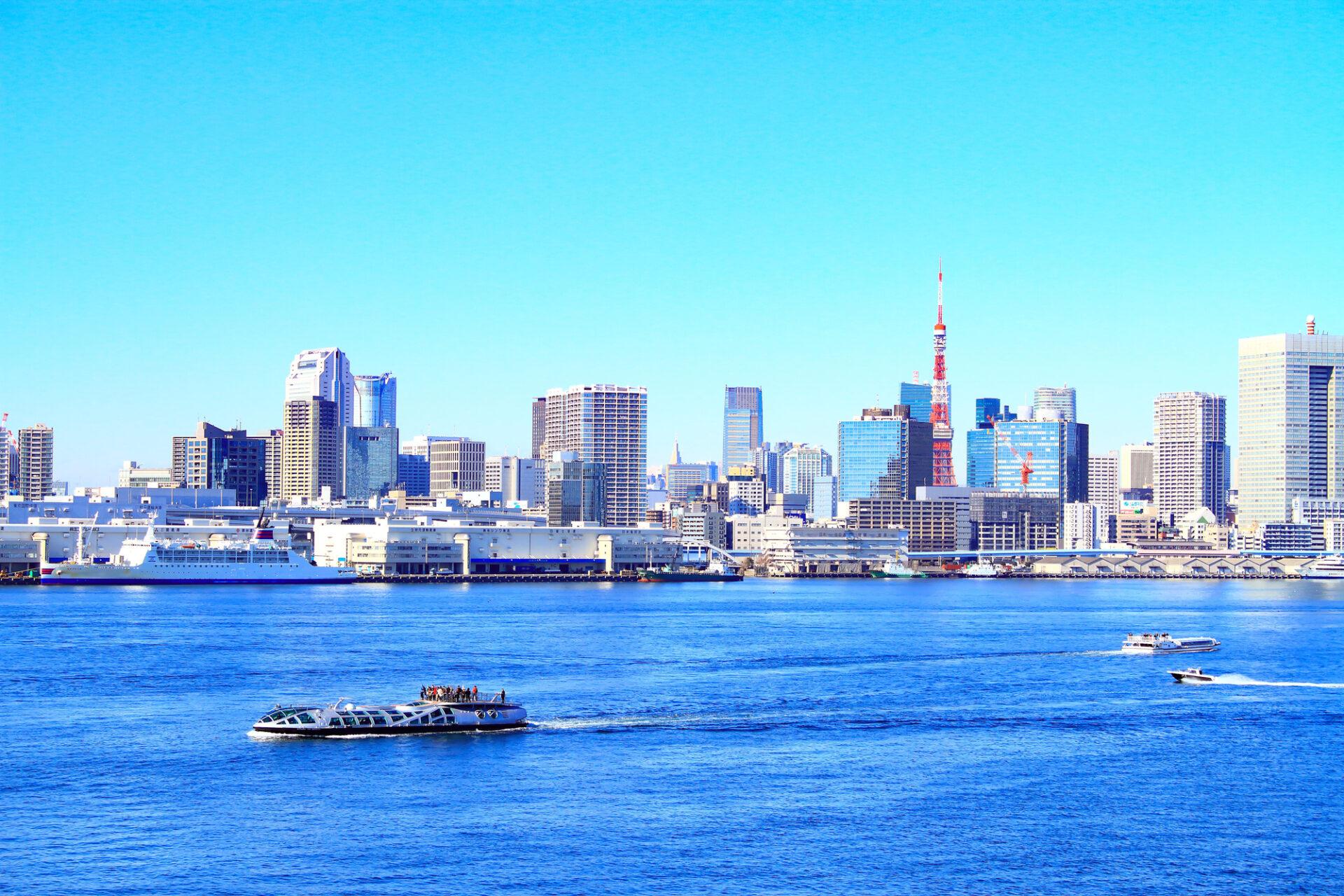 都会が見える海